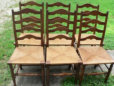 6 Antique Vintage Stickley Country Caine Chairs Arts & Crafts Mission Set of 6