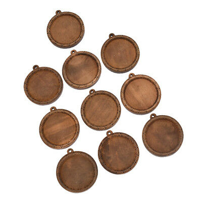10 Pcs Wood 30mm Bases Tray Pendant Round Frame DIY Jewelry Making Findings