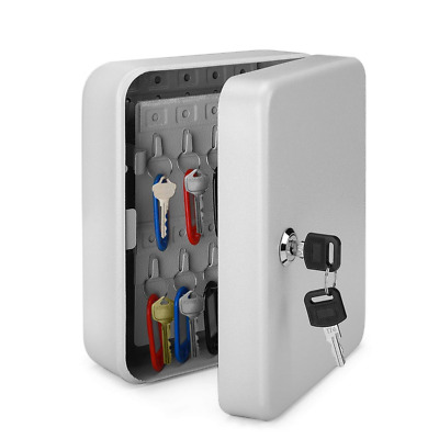 Key Cabinet Steel Lock Box with 40 Capacity Tags & Hooks Wall Mounted Organizer
