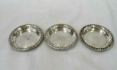 3 Vintage Sterling Silver BUTTER PATS Plates