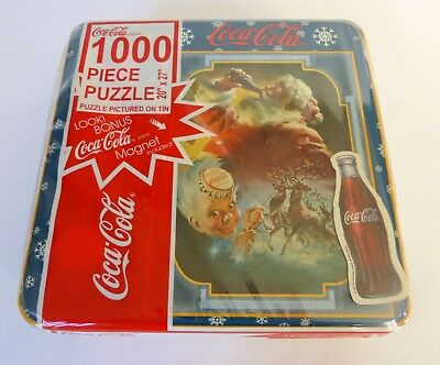 "Coca Cola 1000 Piece Puzzle 20"" x 27"" in Collector Tin Santa Reindeer - Sealed"