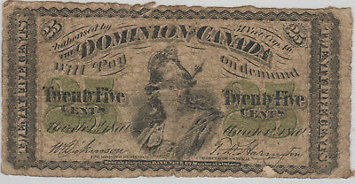 Dominion of Canada, 25 Cent Note, 1870, No Plate Letter