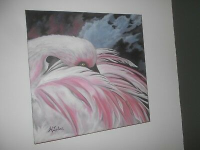 Beautiful Oil Painting of a Pink Bird by Quebec Canada Artist Leclerc