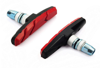 Red Mountain Bike Road Cycling Rubber V Brake Holder Shoes Pads Parts 1 Pair