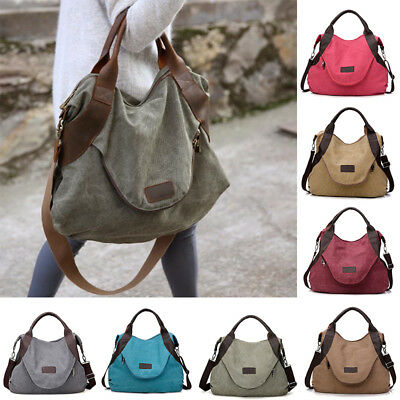 Women Lady Vintage Canvas Hobo Handbags Big Pocket Shoulder Crossbody Bags