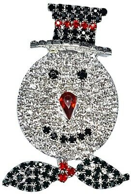 Cute Cool Christmas Gift Crystals Snowman Brooches Pins BlingBling Women Jewelry