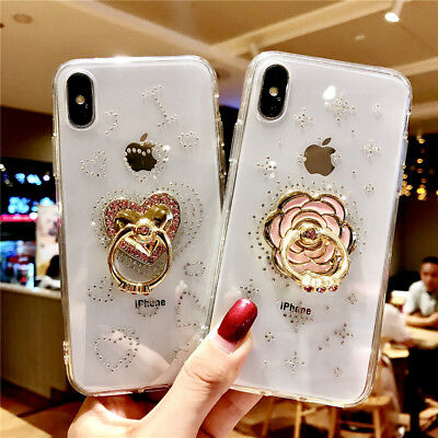 For iPhone XS Max XR 8 7 6 Plus TPU Rubber Case Soft Cover With Gold Ring Holder