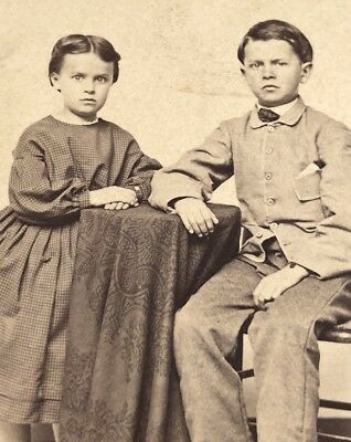 Antique Victorian CDV Photograph Brother Sister Together Not So Happy!:)
