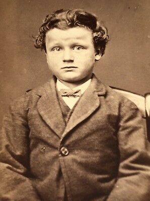 Antique Victorian CDV Photograph Sparta Wisconsin Suited Bow Shy Young Boy!:)