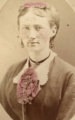 Antique Victorian CDV Photograph Fashion Colored Hair Piece Jewelry Woman Lady!