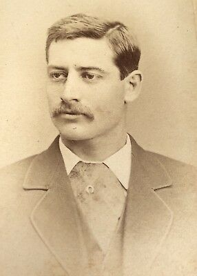 Antique Victorian CDV Photograph Rock Island ILL. Stylish Man Suit Tie Fashion!