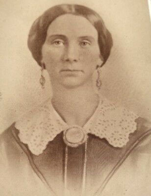 Antique Victorian CDV Photograph Pittsburgh Dress Jewelry Earrings Lady Woman!