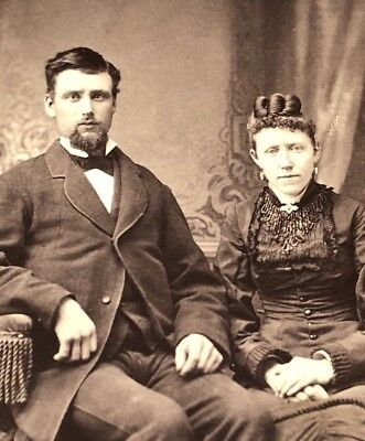 Antique Victorian CDV Photograph Sparta Wis. Husband Wife Fashion Group!