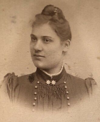 Antique Victorian CDV Photograph Norrland Sweden Dress Jewelry Woman Lady!