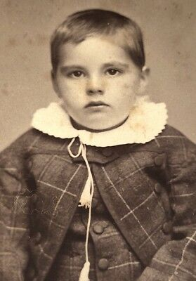 Antique Victorian CDV Photograph Gallipolis OH. Unhappy Suited Cute Kid Boy!:)