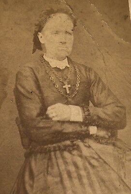 Antique Victorian CDV Photograph Aneby Sweden Religious Jewelry Woman Lady!