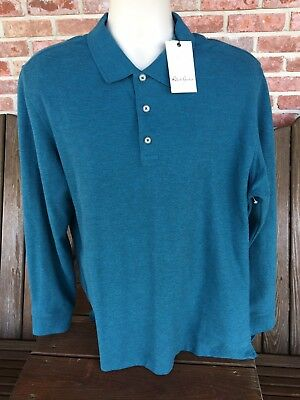 bf8ec01341f6 Robert Graham Aherne Classic Fit Long Sleeve Heathered Teal Polo Shirt Size  XL
