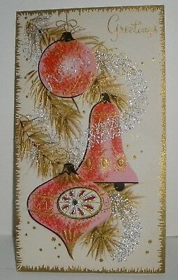 mid century modern pink glittered ornaments indent vintage christmas card