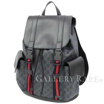0e8b11acb5364c GUCCI Backpack Soft GG Supreme Canvas Black Mens 495563 Italy Authentic  4893363