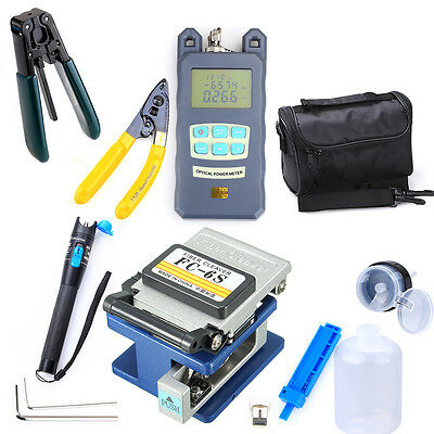 Fiber Optic FTTH Tool Kit FC-6S Cutter Fiber Cleaver Optical Power Meter 18x UPS