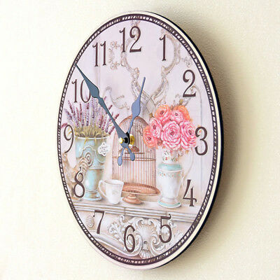 LARGE SHABBY CHIC WALL CLOCK ANTIQUE VINTAGE STYLE Diameter 35CM Round Decor Hot