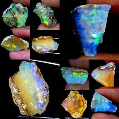 Ethiopian Opal Rough Loose Gemstones 100% Natural Amazing Fire Flash Untreated