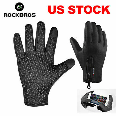 ROCKBROS Winter Cycling Full Gloves Keep Warm Sports Touch Screen Long Gloves US