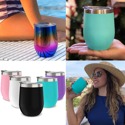 Stainless Steel Stemless Wine Glasses 12oz Insulated Metal Tumbler Cups 15 Color