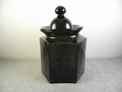 Colonial Williamsburg P&B Glass Works Olive Green Jar with Lid