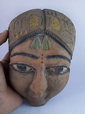 Ancient Egyptian Antique Mask Statue 600 Bc