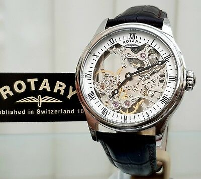 Rotary Mens Watch Vintage style Skeleton Automatic Mechanical Watch RRP £230(R74