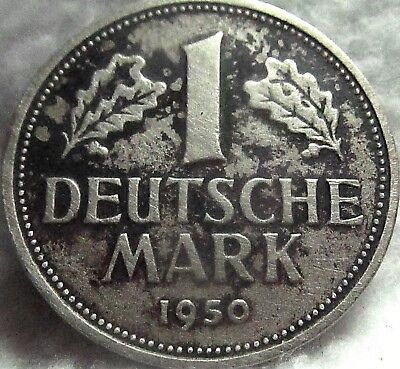 1950-G German Federal Republic 1 Mark ~ VF KM# 110