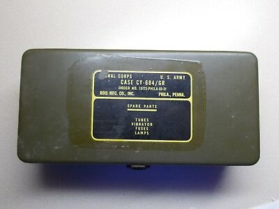Vintage U.S. Army Signal Corps Radio Spare Parts Case CY-684/GR Clean in and out