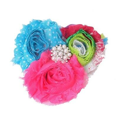 1X(Baby Soft Headband with Chiffon Flower Pink Multi-Color Blue Dotted B7O1)