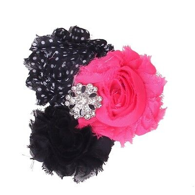 1X(Baby Headband Soft with Chiffon Flower Pink Black Dotted Q6K9)