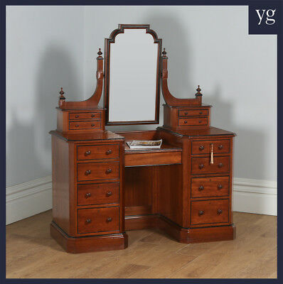 Antique English Victorian Gothic Pitch Pine & Ebony Pedestal Dressing Table with