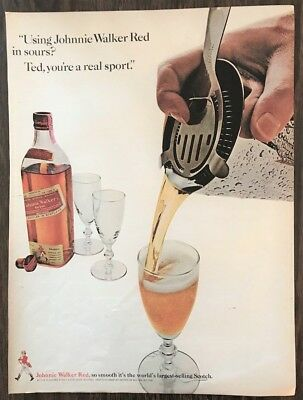 ORIGINAL 1966 Johnnie Walker Red Scotch Print Ad Ted, You're a Real Sport