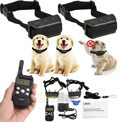 1000ft Waterproof Rechargeable Remote Shock Pet Dog Training Collar 2dog Trainer