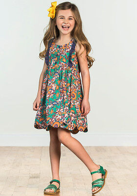 Matilda Jane Out Abroad Dress Girls Size 4 6 10 Scalloped Hem NWT In Bag Green