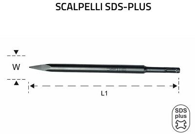 Scalpello Per Demolitori Sds-Plus A Punta Attacco Sds-Plus Mm.250 Cod. 88536