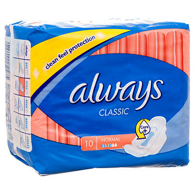 New 364432  Always Classic Maxi Pad Normal W / Wings 10 Ct (16-Pack) Feminine