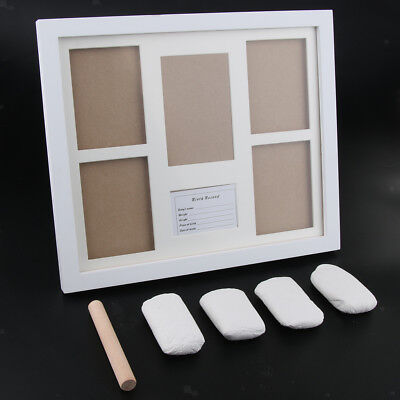 Photo Frame Kit Baby Handprint Footprint with Clean Touch Ink Pad-White