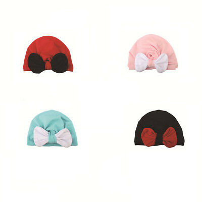 Baby Boy Girl Newborn Toddler Kid Beanie Solid Bow Knot Wrap Cap Turban Hat 8C