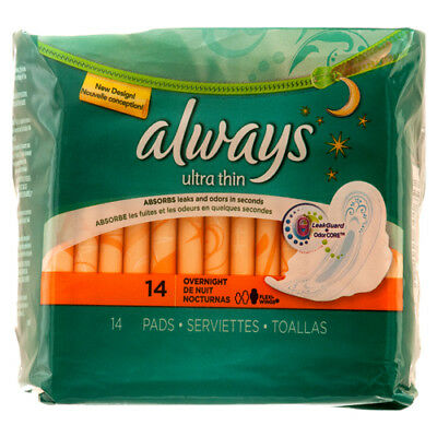 New 329704  Always 14Ct Ultra Thin Overnight W / Wings (12-Pack) Feminine