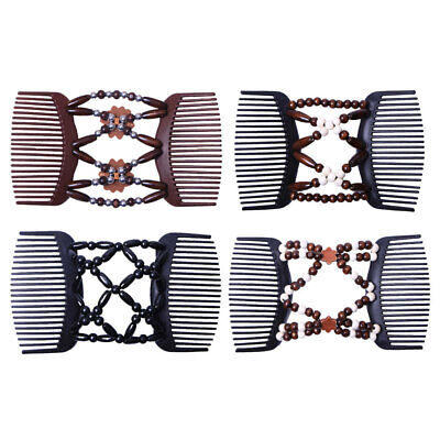 4x Wood Beads Stretchy Double Side Combs Clip Bun Maker Women Hair Accessory