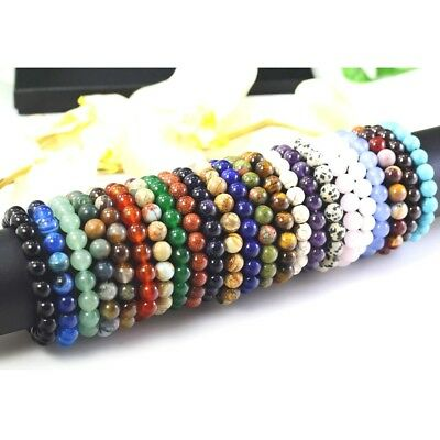 "12mm XL Women Mens Bracelet Natural Gemstone Round Stretch 6.5""-9"" Free Shipping"
