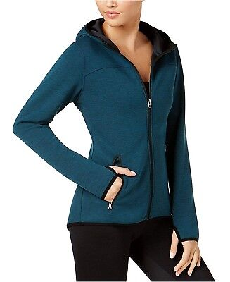 32 DEGREES Womens Tech Fleece Hooded Jacket Size Large Dark Teal Coat $48 - NWT