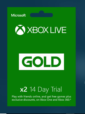 x2 Xbox 360 / Xbox One 14 Day Xbox Live Gold Trial (1 Month) Membership -READ AD