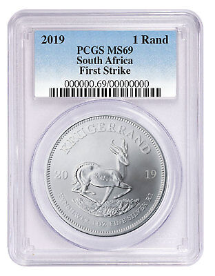 2019 South Africa 1 oz Silver Krugerrand Coin PCGS MS69 FS PRESALE SKU56611