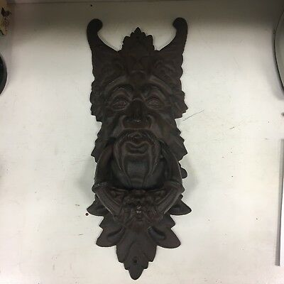 Large Cast Iron Gothic Leaf Man Door Knocker Antique Style Rustic Mythical